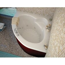 Trinidad 66.5 x 84 Corner Air & Whirlpool Jetted Bathtub with Center Drain by Spa Escapes