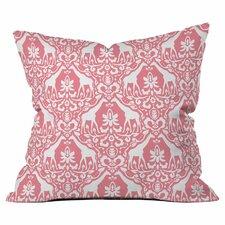 Giraffe Damask Salmon Outdoor Throw Pillow by DENY Designs