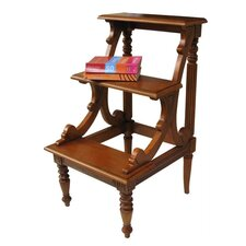 Mahogany 3-Step Wood Step Stool