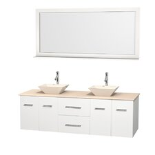 Centra 72 Double White Bathroom Vanity Set with Mirror by Wyndham Collection