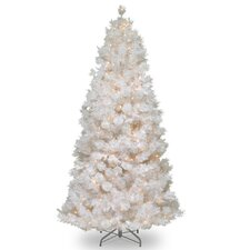 7.5' White Grande Slim Artificial Christmas Tree with 500 Pre-Lit Clear Lights with Stand