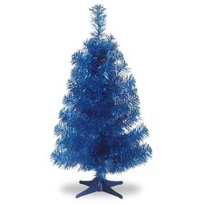 "Tinsel Trees 3"" Blue Artificial Christmas Tree and Stand"
