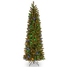 """Downswept Douglas 7.5"""" Green Fir Artificial Christmas Tree with 35 LED Multi Lights and Stand"""