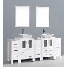 Brigantine 84 Double Bathroom Vanity Set with Mirror by Wade Logan