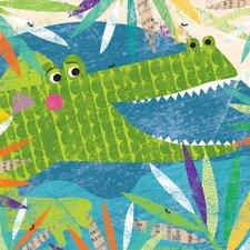 Peeking Jungle Buddies Crocodile Canvas Art