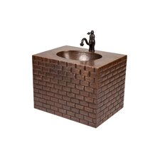 18 Single Hand Hammered Copper Wall Mount Bathroom Vanity Set by Premier Copper Products