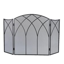 Gothic 3 Panel Steel Fireplace Screen