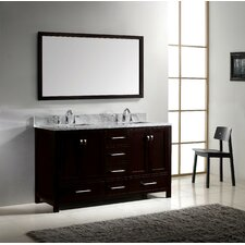 Caroline Avenue 60 Double Bathroom Vanity Set with Carrara White Top and Mirror by Virtu