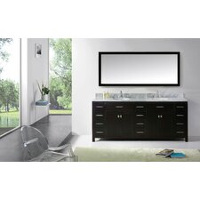 Stoughton 78.8 Double Bathroom Vanity Set with Carrara White Top and Mirror by Latitude Run