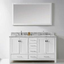 Stoneham 60 Double Bathroom Vanity Set with Carrara White Top and Mirror by Latitude Run