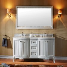 Khaleesi 60 Double Bathroom Vanity Set with White Marble Top and Mirror by Virtu USA