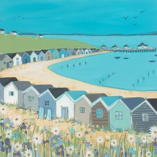 'Beach Huts' by Janet Bell Framed Wall art on Canvas