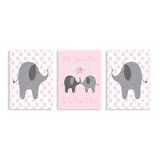 Stella We Love You Elephants Triptych 3 Piece Wall Plaque Set