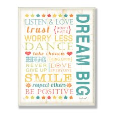 Stella Dream Big Kids Typography Canvas Art