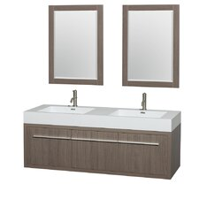 Axa 60 Double Gray Oak Bathroom Vanity Set with Mirror by Wyndham Collection