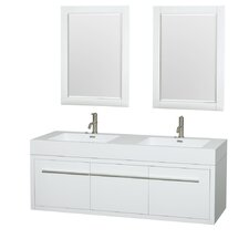 Axa 60 Double Glossy White Bathroom Vanity Set with Mirror by Wyndham Collection