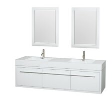 Axa 72 Double Glossy White Bathroom Vanity Set with Mirror by Wyndham Collection