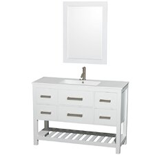 Natalie 48 Single White Bathroom Vanity Set with Mirror by Wyndham Collection