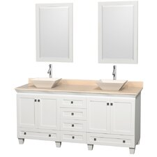 Acclaim 72 Double White Bathroom Vanity Set with Mirror by Wyndham Collection