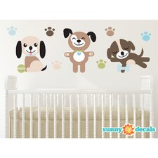 Adorable Puppy Dogs Fabric Wall Decal