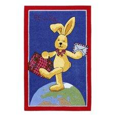 Handgewebter Motivteppich Felix der Hase in Blau