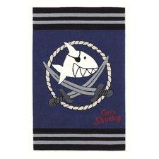 Handgewebter Motivteppich Capt'n Sharky in Blau