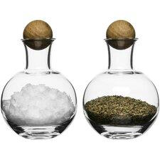 Oval Oak Spice & Herb Storage with Oak Stopper (Set of 2)