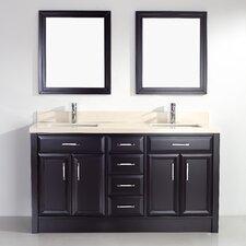 Caledonia 63 Double Bathroom Vanity Set with Mirror by Bauhaus Bath
