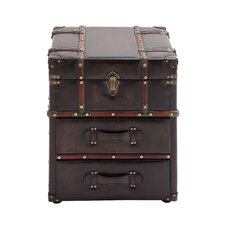 Miles Faux Leather Trunk Design End Table by Williston Forge