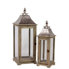 Wood Square Lantern with Metal Top and Ring Hanger
