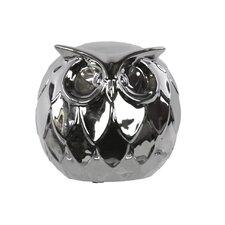 Ceramic Owl LG Chrome Figurine