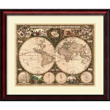 world map 1660 by ward maps framed graphic art