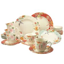 Stoneware Crimson 30 Piece Dinnerware Set, Service for 6