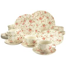 Stoneware Florid 30 Piece Dinnerware Set, Service for 6
