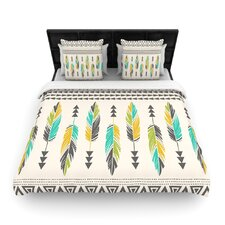 Painted Feathers Cream by Amanda Lane Woven Duvet Cover