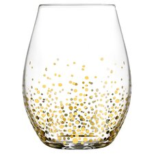 Gold Luster 20 oz. Stemless Wine Glass (Set of 4)