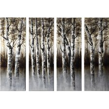 Through the Woods 4 Piece Painting Print on Canvas Set