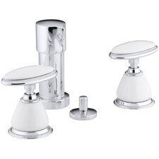 Antique Vertical Spray Bidet Faucet with Oval Handles, Requires Ceramic Handle Insets and Skirts