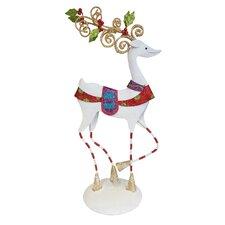 Christmas Tabletop Ornate Reindeer with Stripes Figurine