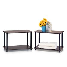 Turn 'n' Tube 2 Tier Shelves/End Table (Set of 2) by Furinno
