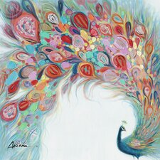 Revealed Artwork Peacock Flourish Painting Wrapped Canvas