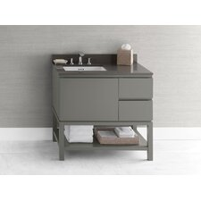 Contempo Chloe Wood Cabinet Vanity Slate Gray Base by Ronbow