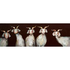 '5 Goats on Chocolate Brown' by Eli Halpin Painting Print on Canvas