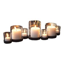 Selby 7 Piece Bubbles Iron and Glass Candle Holder Set