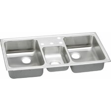 gourmet 43 x 22 triple bowl kitchen sink - Three Compartment Kitchen Sink