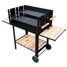 77cm Portable Charcoal Barbecue with Side Shelf