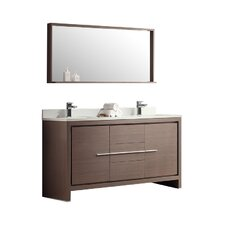 "Allier 60"" Double Modern Bathroom Vanity Set with Mirror"