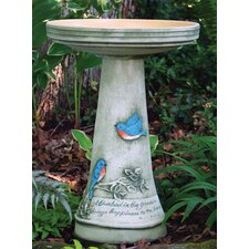 Burley Clay Handpainted Bluebird Birdbath