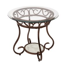 Christina Glass & Metal End Table by Fleur De Lis Living
