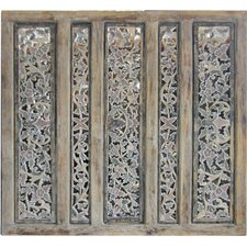 "44"" x 44"" Balinese Carved 5 Panel Room Divider"